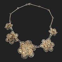Vintage Chinese Filigree Floral Silver Tone Necklace