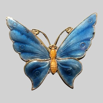 Vintage Chinese Enamel Butterfly Pin Brooch