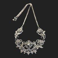 Vintage Designed Floral Silver Plated Necklace