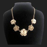 Vintage Gold Plated Copper Floral Necklace