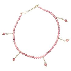 Genuine Red Spinel Small Beads Anklet