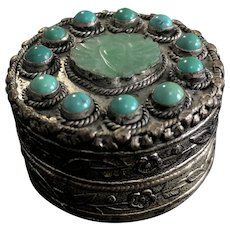 Qing Dynasty Jade and Turquoise White Copper Carved Box