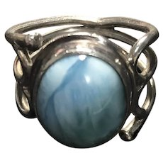 Natural Larimar Sterling Silver Ring