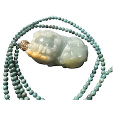 Natural Jade Guardian Lion Pendant Bracelet