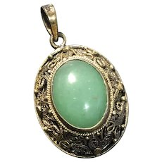 Vintage Chinese Gild Filigree Sterling Silver Natural Nephrite Jade Pendant