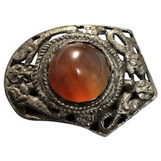 Antique Chinese Qing Dynasty Copper Setting Natural Carnelian Brooch