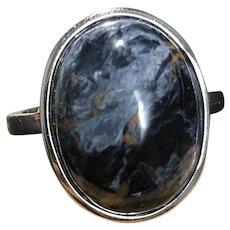 Vintage Jet Sterling Silver Adjustable Ring