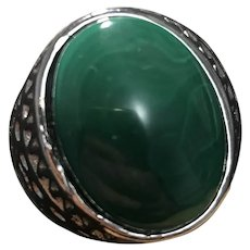 Vintage Malachite Sterling Silver Adjustable Ring