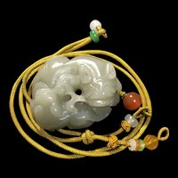 Vintage Chinese Hand Carved Nephrite Jade 3D Pixiu Pendant Necklace