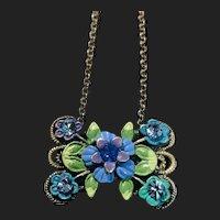 Fabulous Vintage Enamel Floral Pendant Necklace