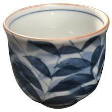 Vintage Hand Painted Blue Leaves Porcelain Cup Decoration