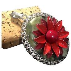 Vintage Nephrite Jade Red Tone Metal Floral Pendant