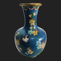 Vintage Chinese Cloisonné Enamel Blue Floral Vase