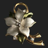 Vintage Gold Plated Colored Floral Brooch