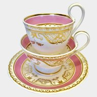 Stunning Ridgway true trio in pink and gold with gadrooned edge c1835