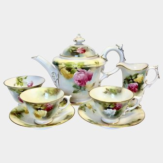 Rare antique c1909 Royal Worcester Hand Painted Roses small tea set for two