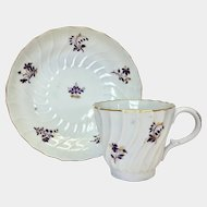 A Barr Worcester spiral fluted coffee cup & saucer 1790s