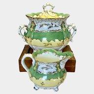 Rockingham sugar pot with lid and creamers jug c1830