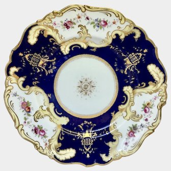 John Ridgway plate decorated with hand painted flower panels 1830-1841