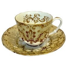 Rare Hilditch & Hopwood cup and saucer in brown gold colour c1845