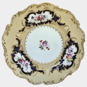 Coalport cabinet plate mixture of transfer and hand painted flowers