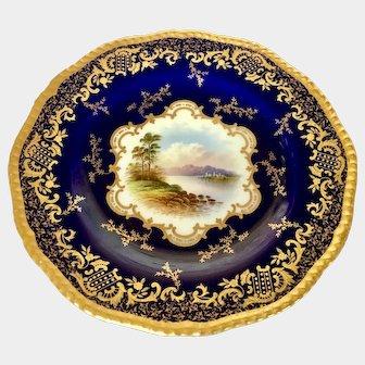 Fine Coalport hand painted scenic dessert plate depicting Scottish Loch Awe