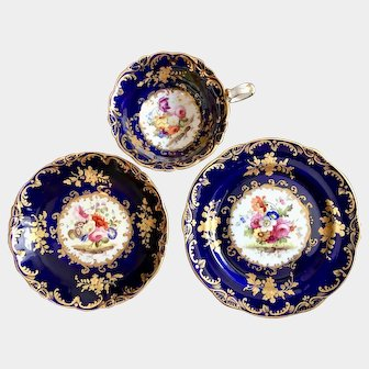 Coalport true trio cobalt blue with floral decoration and embossed gold pattern c1840