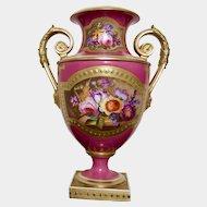 Bloor Derby twin handled pedestal large vase c1820-1840