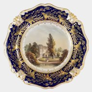 Bloor Derby plate with hand painted scene of Hertford Castle c1825-1840