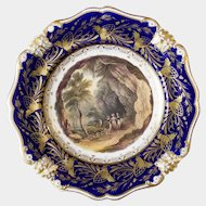 """Bloor Derby plate with hand painted scene """"View in Derbyshire"""" c1825-1840"""