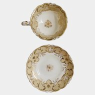 Coalport rococo cup and saucer pattern 3/222, c1830