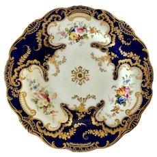 Fine porcelain dessert cobalt blue plate possibly Ridgway c1845