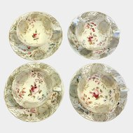 Mid 18th century Hamilton Moore, pattern 2/523 ( set of 4 cups & saucers)