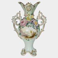 Coalport Coalbrookdale landscape twin-handled vase c1830-40