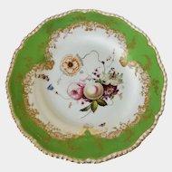Coalport hand painted dessert plate in apple green with gadrooned rim c1820