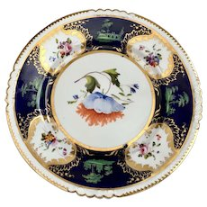 A rare and early of Rockingham plate c1826, possibly painted by John Cresswell