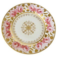 An early Coalport plate hand painted pink roses & gold c1825