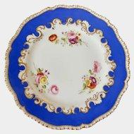 Coalport plate hand painted flowers, sky blue border gadrooned rim 1815-1820