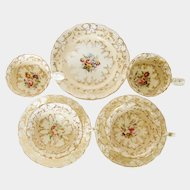 Coalport Adelaide shaped part tea service hand painted floral spray c1830