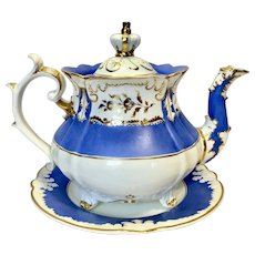Rockingham teapot in blue with the crown lid c1830