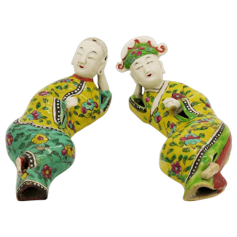 An Excellent Antique Chinese Porcelain Figurine Couple Daoguang Qing Dynasty c. 1850