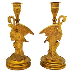 An Antique French Empire Gilt Bronze Pair of Candlesticks as Crane Birds c. 1850