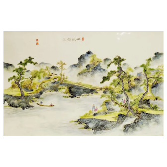 A Vintage Chinese Large Porcelain Plaque w/ River Landscape 1960's Signed and Marked
