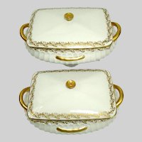Antique Haviland Limoges Gold Gild Decor Covered Entree Dish ~ Rare