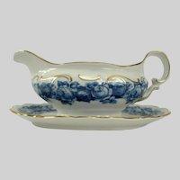 Schumann Bavaria HEIRLOOM BLUE Gravy Boat w/Atch Plate