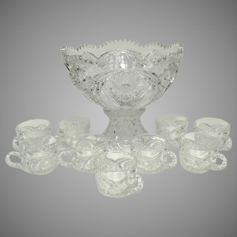 Vintage EAPG 11-Piece Punch Bowl Set