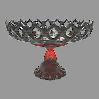 Vintage Westmoreland DORIC LACE Ruby Compote