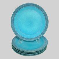 Mid-Century Ceramano Pottery 'Sapphire' Plates - Set/5