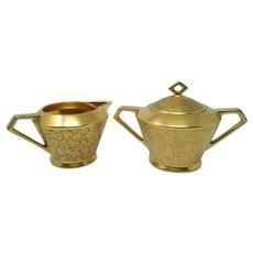 Vtg. Pickard Rose & Daisy Gold Encrusted Cream & Sugar Set #637