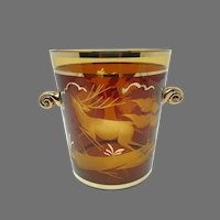 Vintage Czech Bohemian Amber Gold Ice Bucket -- Cut/Etched Woodland Scene